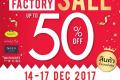 งาน NaRaYa Factory SALE 2017 สินค้า นารายา ลดสูงสุด 50% ที่ สำนักงานใหญ่แจ้งวัฒนะ วันที่ 14 ถึง 17 ธันวาคม 2560